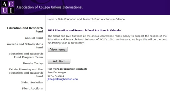 Start thinking now about the @ACUIConference Silent Auction!